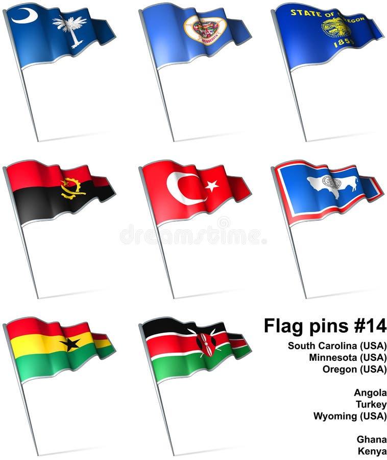 14 flaggastift vektor illustrationer