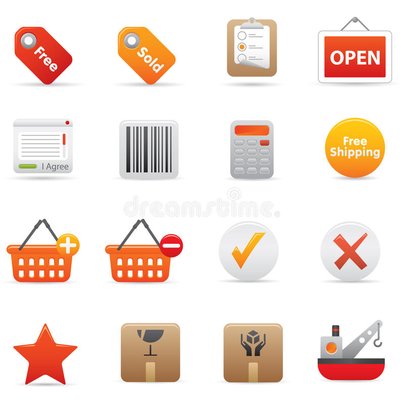 14 Red Shopping Icons vector illustration