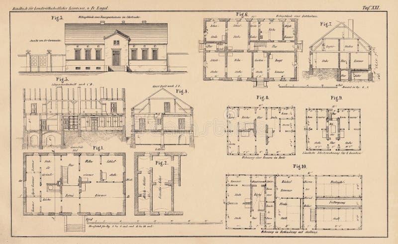 142 jaar oude technische tekenings stock fotografie