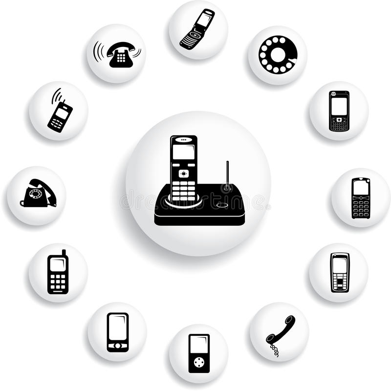 149 b guzików telefonów ustawiających ilustracji