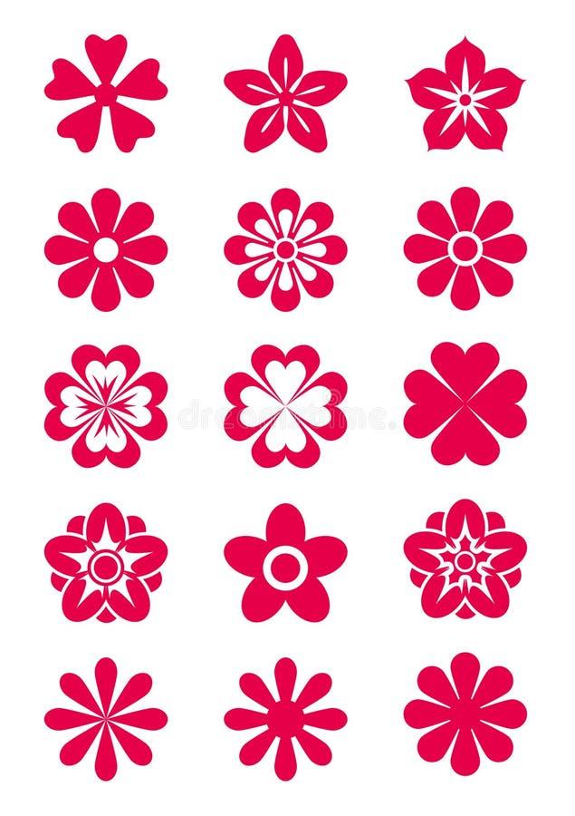 15 σκιαγραφίες λουλου&delt διανυσματική απεικόνιση