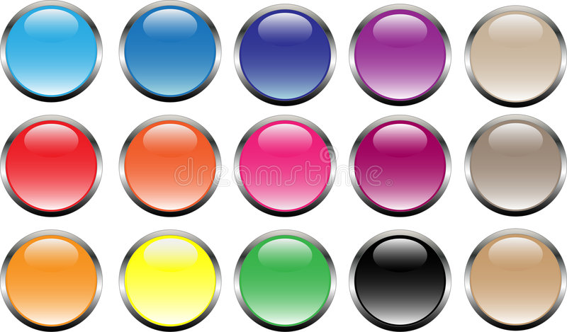 15 buttons. In web2.0 style vector illustration