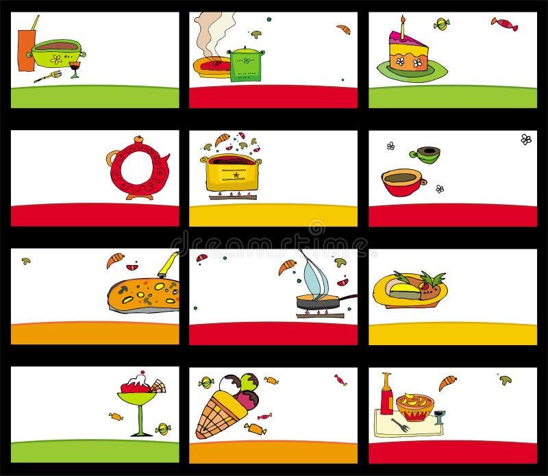 15 cartes colorées de nourriture illustration de vecteur