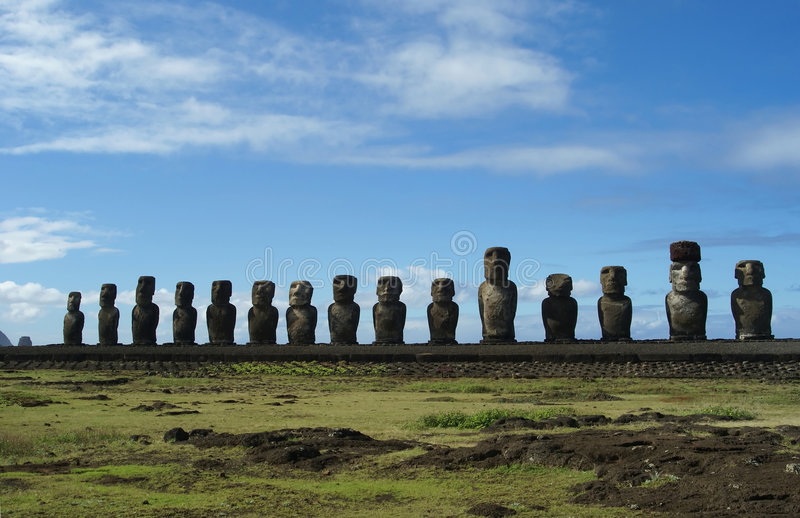 The 15 moais. Aligned in the beach of orongo stock photos