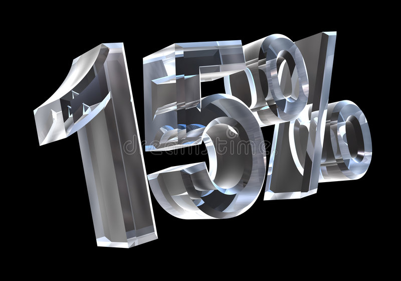 Download 15 percent in glass (3D) stock illustration. Image of math - 3646636