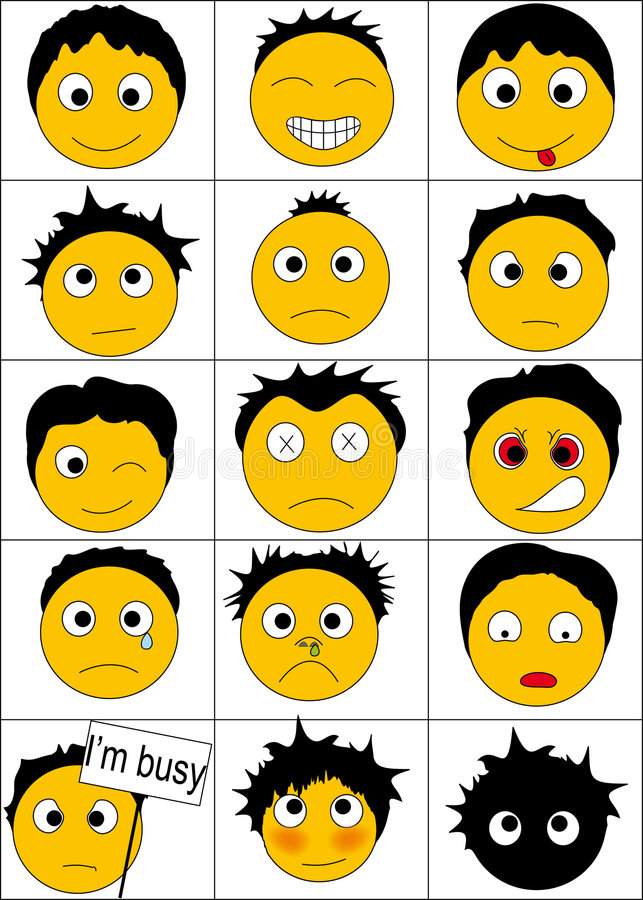 Download 15-smiles stock vector. Image of hiding, emotions, confused - 8220326