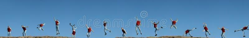 15 Times Duplicated Man Jumping Stock Photos