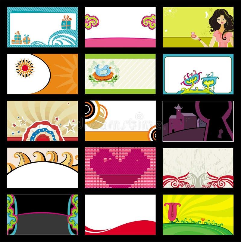 15 wizytówek kolorowych royalty ilustracja