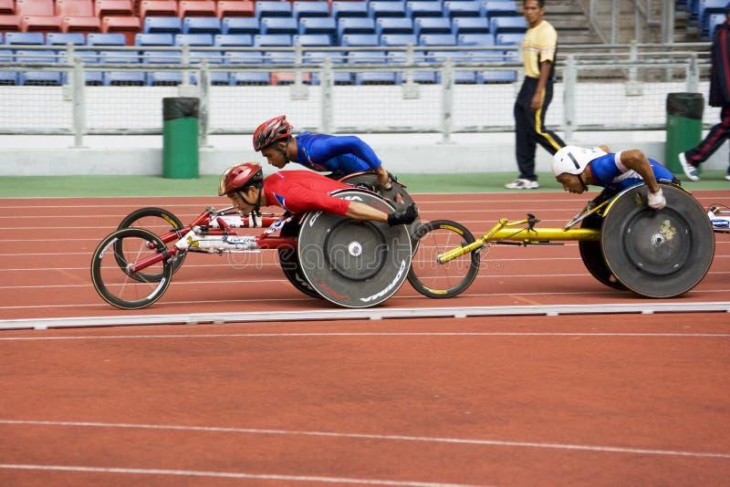 1500 метров людей участвуют в гонке кресло-коляска s стоковая фотография rf