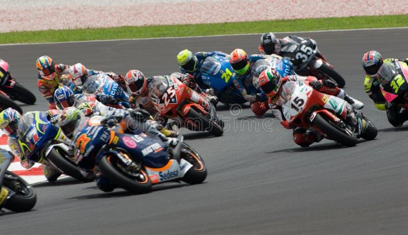 150cc riders at 2007 Polini Malaysian Motorcycle G. Riders at Turn 2 at 2007 Polini Malaysian Motorcycle Grand Prix Sepang Circuit Malaysia stock photo