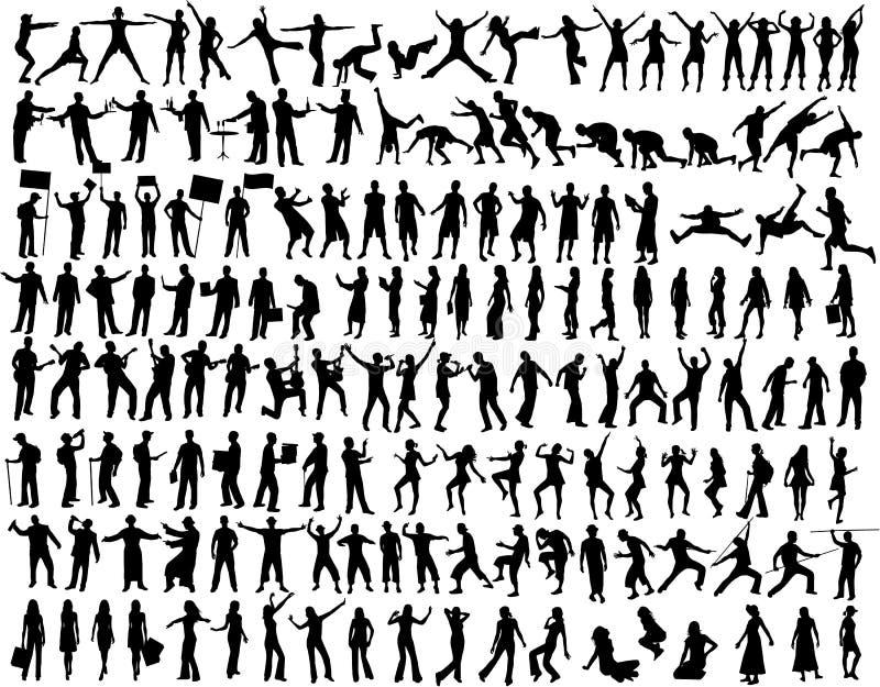 158 samlingssilhouettes vektor illustrationer