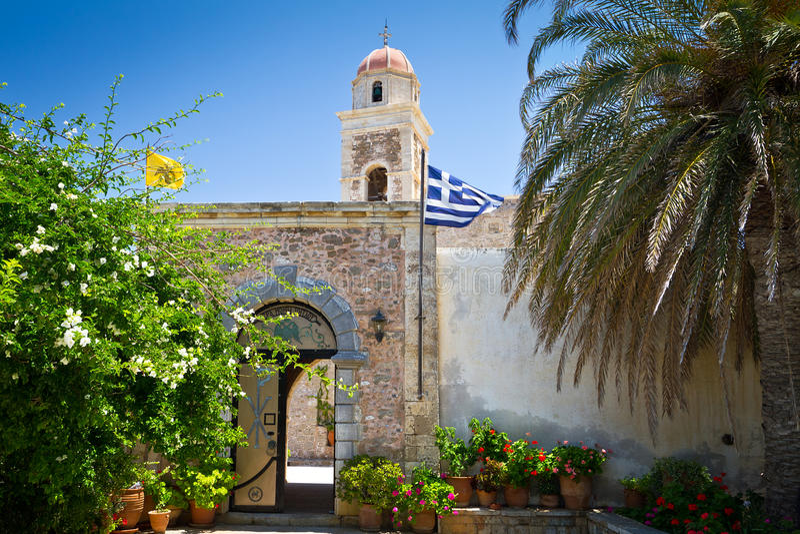 15th century monastery Moni Toplou on Crete. Greece royalty free stock image