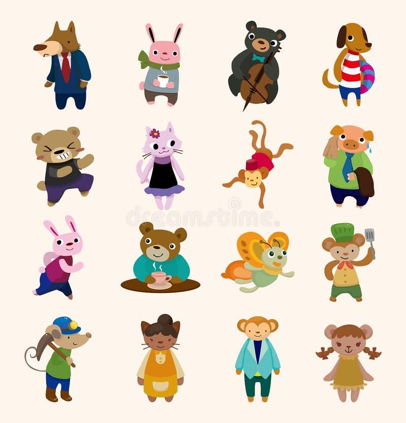 16 ícones animais bonitos ajustados ilustração stock