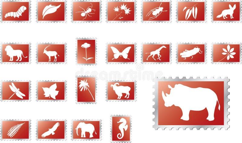 16 больших штемпелей комплекта природы