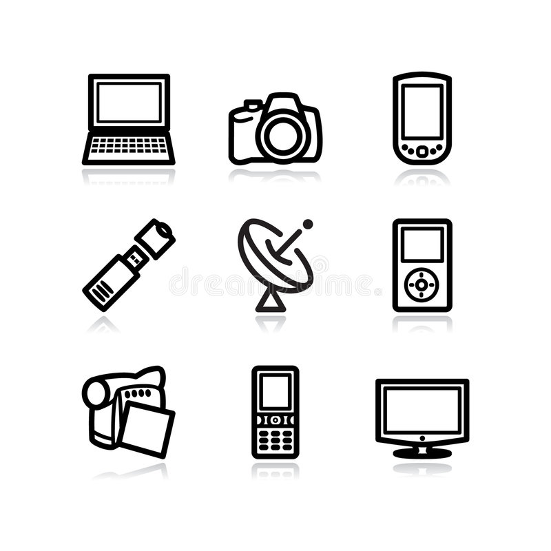 16 черных икон установили сеть стоковые изображения