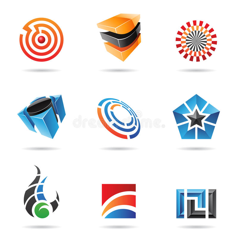 16 abstrakcjonistycznych kolorowych ikon ustawiają różnorodnego royalty ilustracja