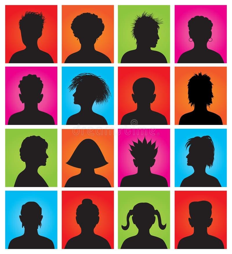 16 anonyma färgrika mugshots royaltyfri illustrationer
