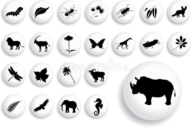 16 b duży guzików natury set ilustracja wektor