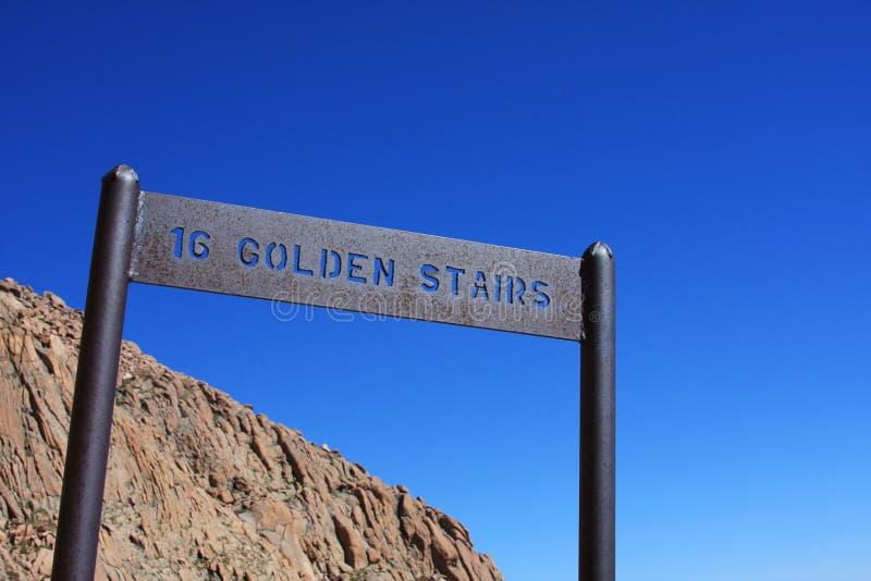 16 barr złoty szczytowy szczupaków schodków ślad fotografia stock