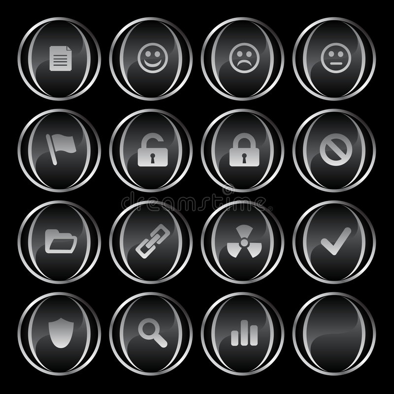 Free 16 Black/gray Buttons Part 2 Royalty Free Stock Photo - 4816095