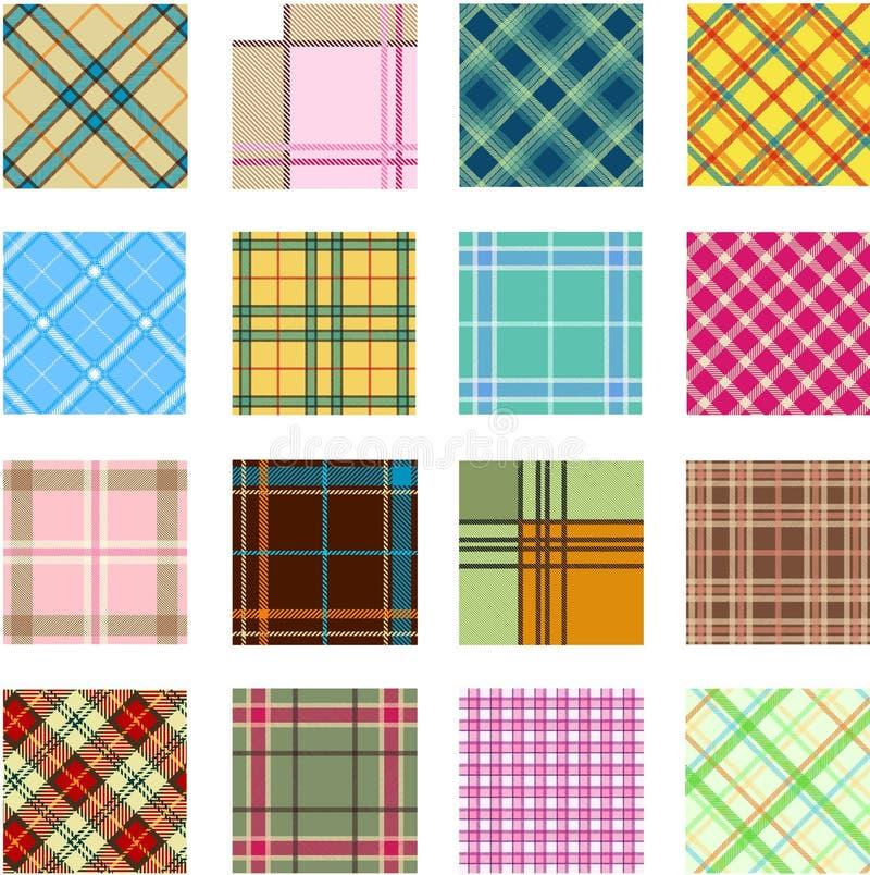 16 configurations différentes de plaid illustration de vecteur