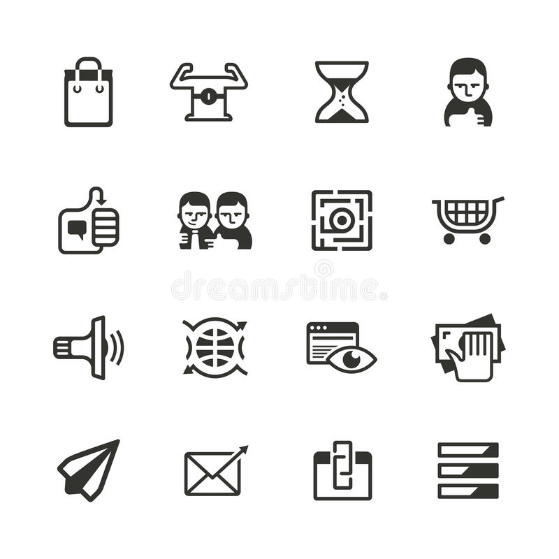 16 content marketing icons vector illustration