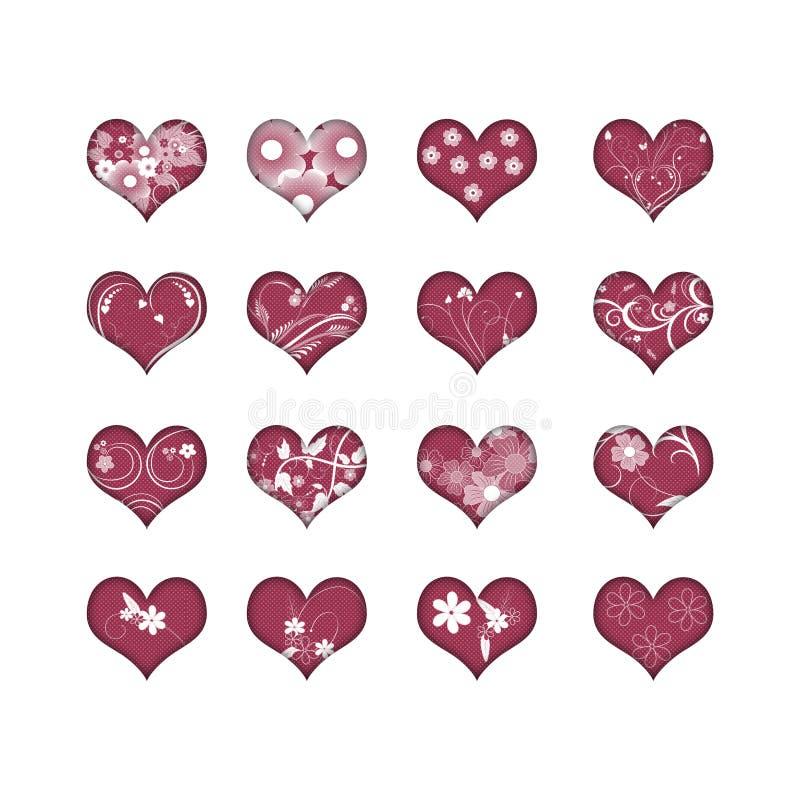 16 corações com flores ilustração do vetor