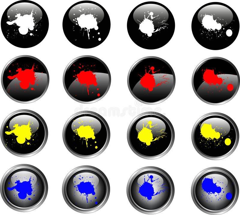 16 czarne guziki splatted sieci ilustracji