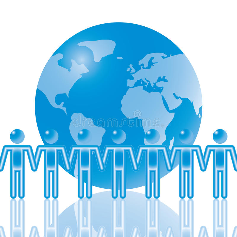 Download 16. Global Team In Blue. Stock Images - Image: 15279394