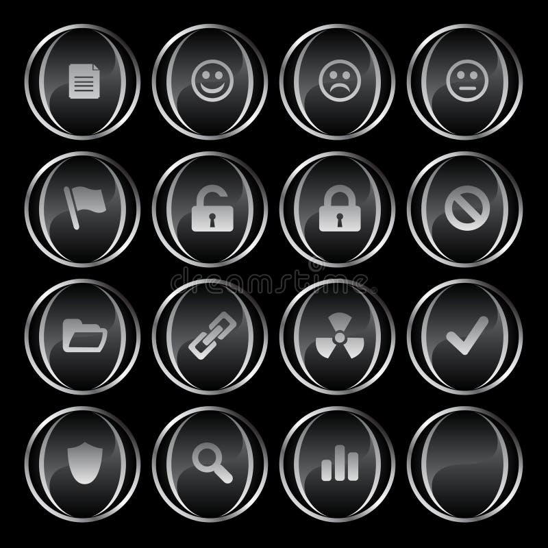 16 noirs/gris boutonne la partie illustration libre de droits