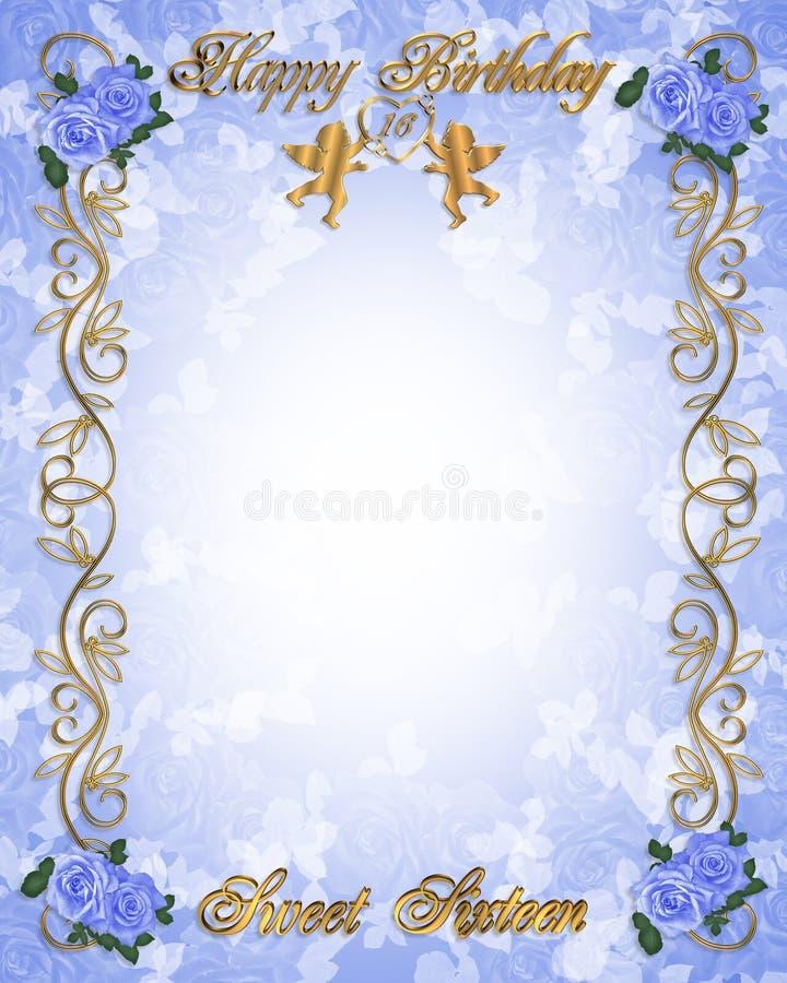 16 söt födelsedag blå inbjudan royaltyfri illustrationer