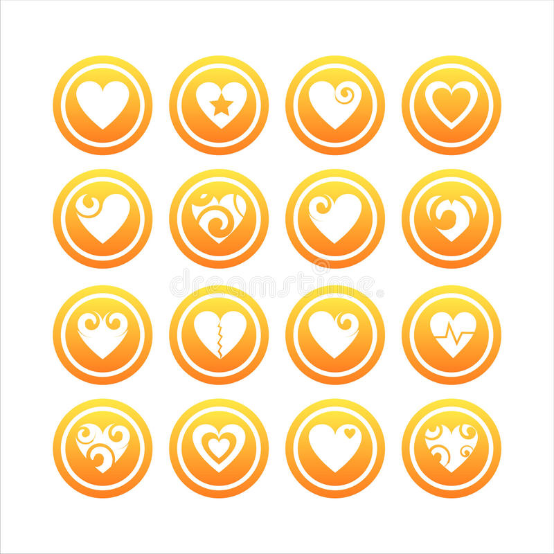 16 serca ustawiających znaków ilustracji