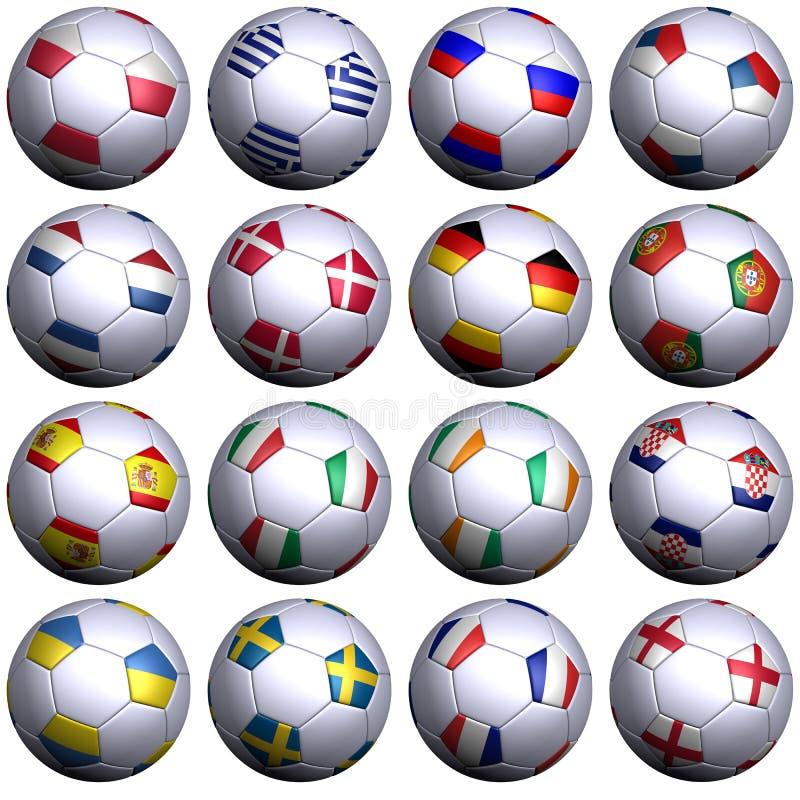 16 sfere di calcio di 2012 competitori europei royalty illustrazione gratis