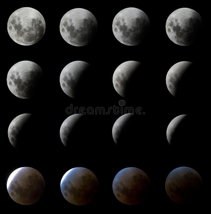 16 tiros del eclipse de la luna fotos de archivo