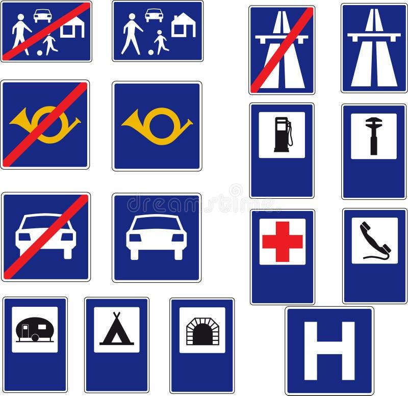 16 vägmärken vektor illustrationer