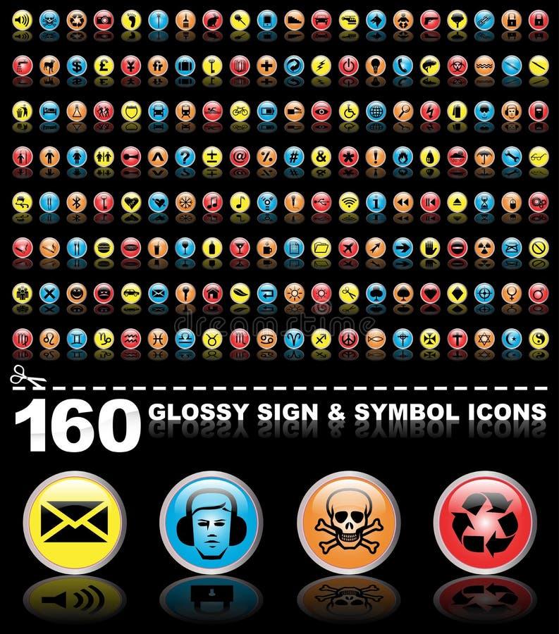 160个光滑的图标签署符号 皇族释放例证