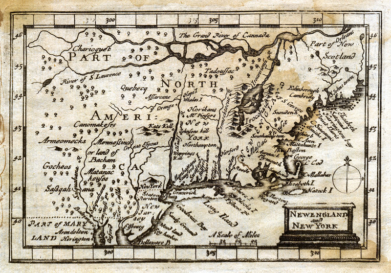 1635 Antique John Speed Map Colonial New England stock illustration