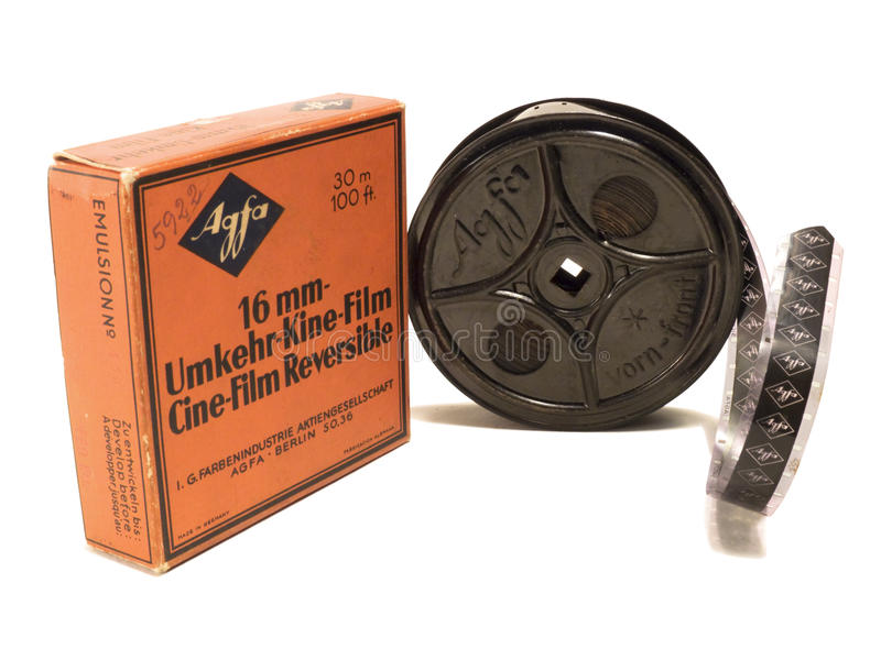 16mm Afga film and reel EDITORIAL USE ONLY stock image