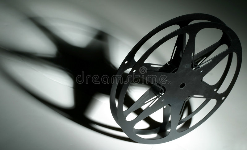 16mm Film Reel. Retro 16mm film reel with shadow