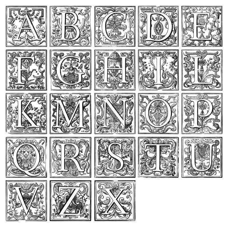 16th столетие алфавита иллюстрация штока