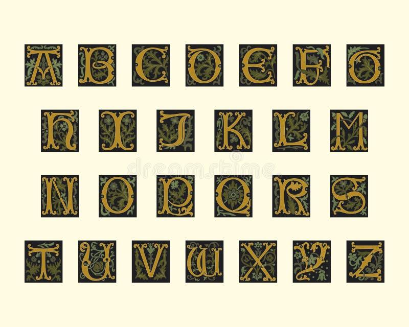 16th alfabetårhundrade tidigt vektor illustrationer