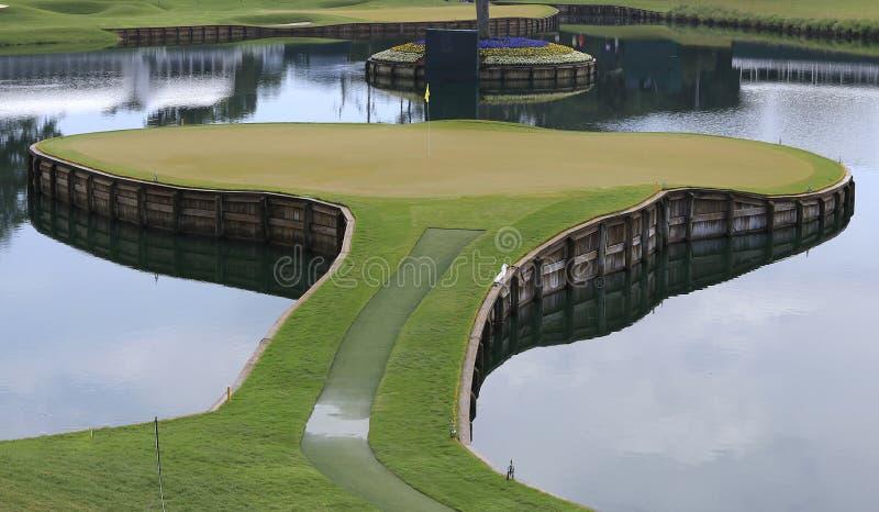 17 fl高尔夫球漏洞ponte sawgrass tpc vedra 免版税库存照片
