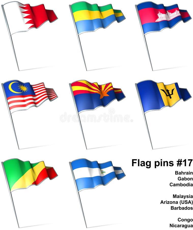 17 flaggastift stock illustrationer