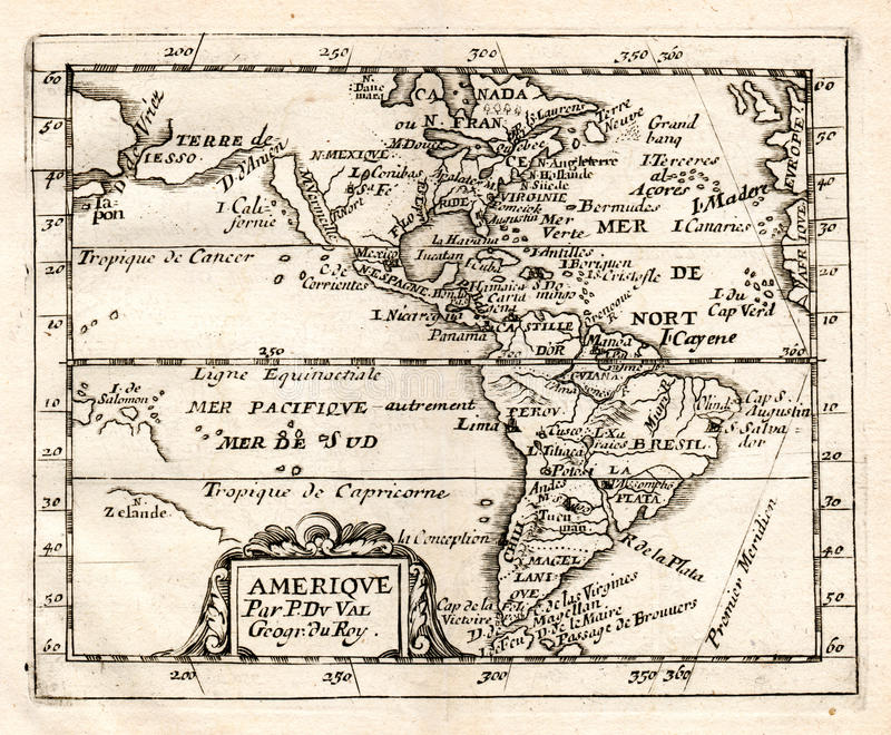 1765 DE Val Map van het Noorden en Zuid-Amerika vector illustratie