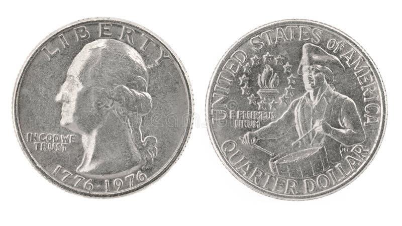 1776 1976 dolarów ćwiartek obrazy stock