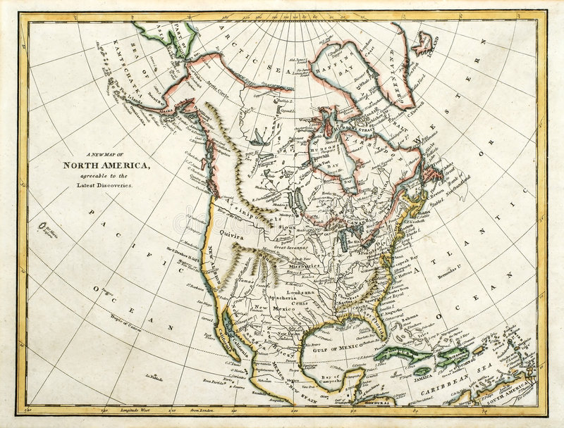 1791 Map of North America. This vintage line-colored map was printed in England in 1791 stock photo