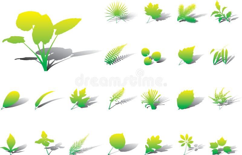 17a μεγάλα φύλλα εικονιδίω&nu διανυσματική απεικόνιση