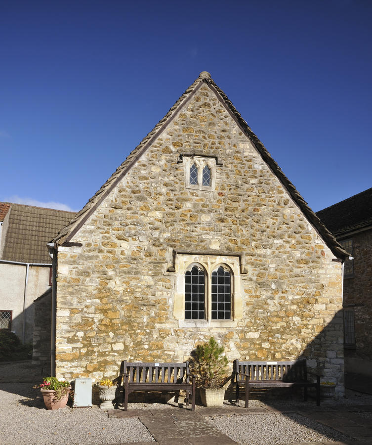 17th century Chapel. Behind Perry & Dawes Almshouses, Church Street, Woton-Under-Edge stock photos