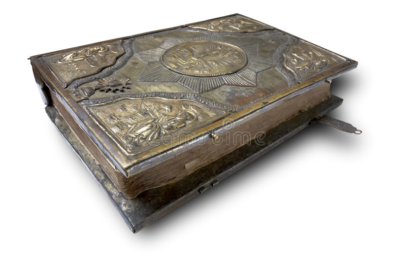 17th century religious big book. On the white background with clipping path royalty free stock photography