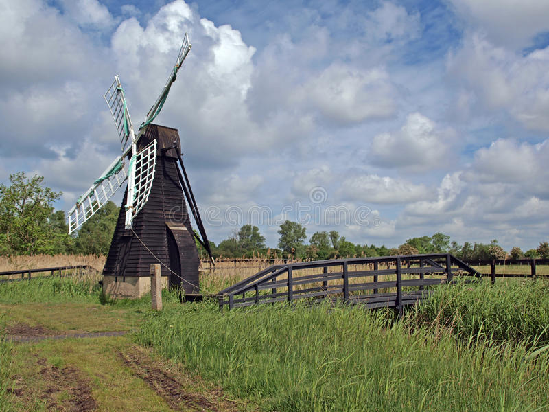 Download 17th Century Wooden Wind Driven Fen Drainage Pump. Stock Image - Image: 27299191